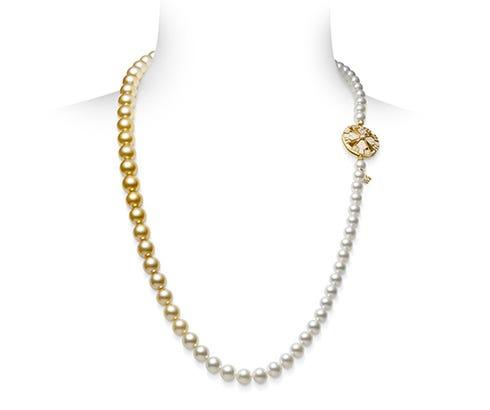 Mikimoto Yaguruma Collection 18K 黃金頸鏈配金南洋及白南洋珍珠和鑽石